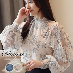 ブラウス トップス シフォン レディース バルーン袖 花柄 長袖 透け感 フリル 可愛い 韓国ファッション おしゃれ カジュアル