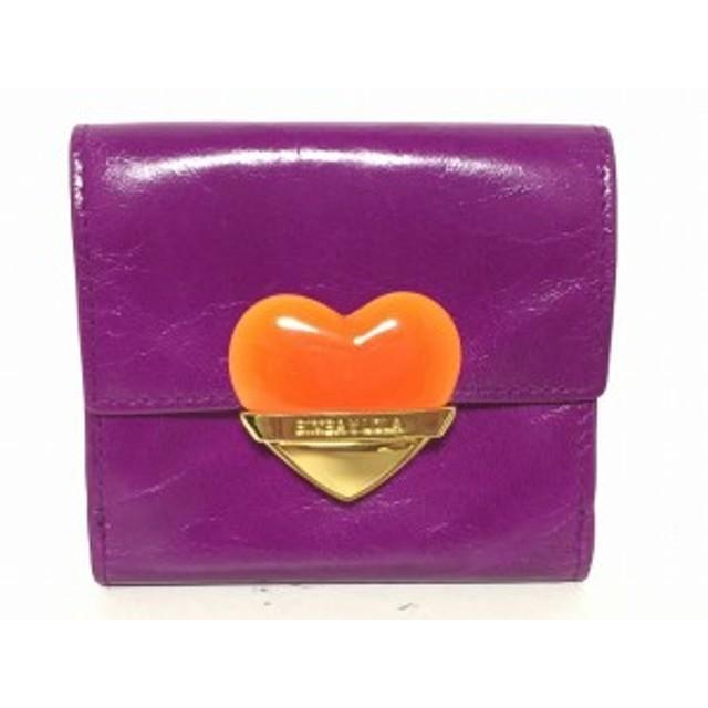 ビンバイローラ BIMBA Y LOLA 2つ折り財布 レディース パープル×オレンジ×ゴールド ハート/ミニサイズ レザー【中古】