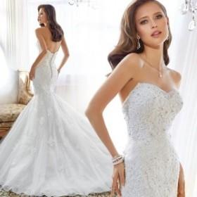 ビスチェドレス花嫁 ブライダルドレス フィッシュテールパターン スレンダーラインドレス ベアトップドレス マーメイドラインドレスda360