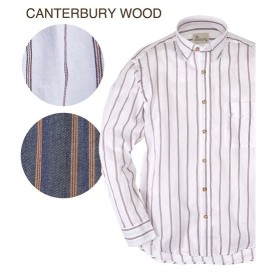 シャツ カジュアル メンズ CANTERBURY WOOD カンタベリーウッド 綿100% ツイルストライプ柄 長袖 トップス M/L/LL ニッセン