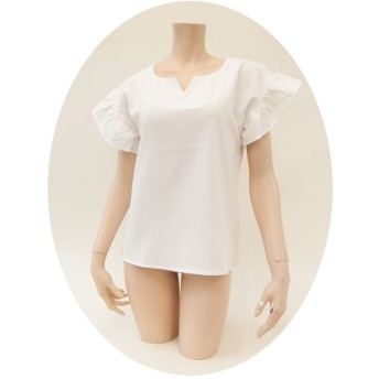 シャツ - tiara フリル袖 シャツ トップス レディース ストレートシャツ 大きいサイズ 半袖 無地 可愛い かわいい きれいめ 夏