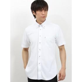 ポロシャツ - TAKA-Q MEN SHIRTS CODE/mens: Biz エンボスストライプ マイターボタンダウン半袖カットシャツ/ビズポロ/クールビズ