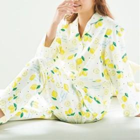 【レディース】 冷房対策にも!爽やかプリント長袖シャツパジャマ(綿100%) - セシール ■カラー:ホワイト ■サイズ:M,LL,3L,5L