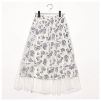 プライベートビーチ privatebeach 花柄×ストライプチュール ティアードスカート (ホワイト×ネイビー)