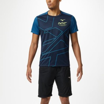 MIZUNO SHOP [ミズノ公式オンラインショップ] N-XT Tシャツ[ユニセックス] 14 ディープネイビー×ブリリアントブルー 32JA9210