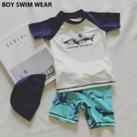 キッズ 水着 男の子 パンツ トップス 半袖 キャップ 3点set サーフパンツ スイムウェア 海水浴 プール ラッシュガード ネコポス送料無料