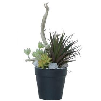人工観葉植物 ミニアレンジメントポットSE(1個) bb370 多肉植物セット (代引き不可) インテリアグリーン 造花 POT SUCCULENT