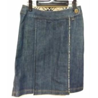 バーバリーロンドン Burberry LONDON 巻きスカート サイズ38 L レディース 美品 ネイビー デニム【中古】
