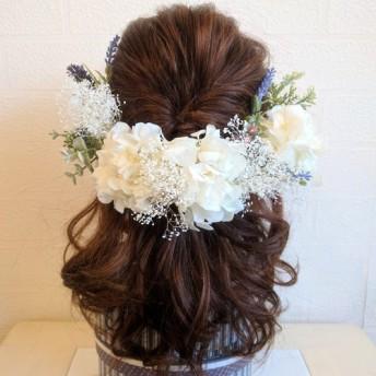 新作 natural garden ホワイト×グリーン ヘッドドレス 髪飾り ブライダル 成人式 花嫁