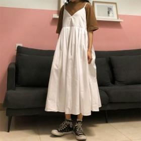 2色 ビッグシルエット ロングキャミ ジャンパースカート