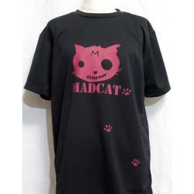 (M)オリジナルカラープリントTシャツ「MADCAT」赤猫(1-218)綿100%