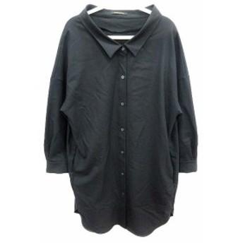 【中古】バンヤードストーム BARNYARDSTORM ワンピース シャツ ひざ丈 長袖 0 黒 ブラック /YK レディース