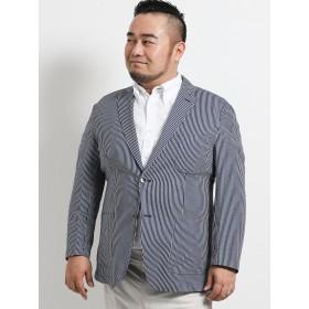 スーツジャケット - TAKA-Q MEN GRAND-BACK:【大きいサイズ】シルキーサッカー 2釦シングルジャケット