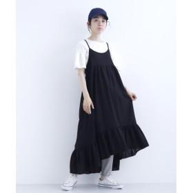 (merlot/メルロー)裾フリルジャンパースカート7602-0615/レディース ブラック