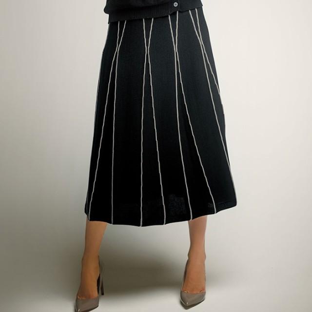 6345ed9a4fb ベルーナ <日本製>フレアーニットスカート グレー/ホワイト/ブラック M レディースレディース