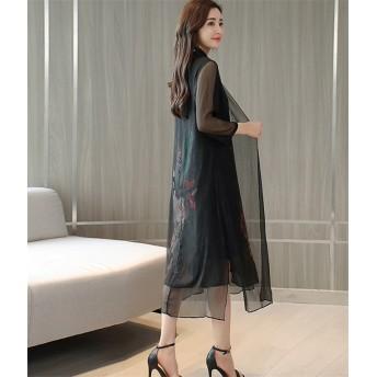 高級でセクシーなドレス 2019 新品 女性 ミディアムロング スリム スリムフィット フェイクツーピース 細身 プリント シフォンスカート エレガンス 気高い ワンピース