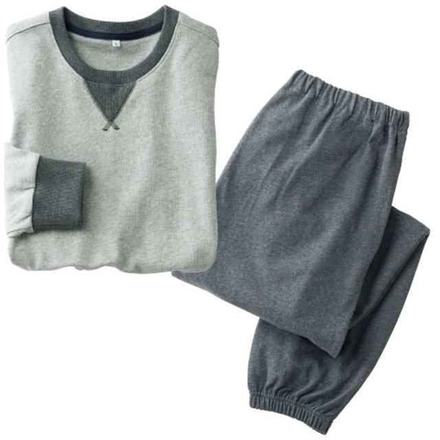 【レディース】 綿100%裏毛スウェットパジャマ(男女兼用) - セシール ■カラー:グレー ■サイズ:M,L,5L,S,LL,3L
