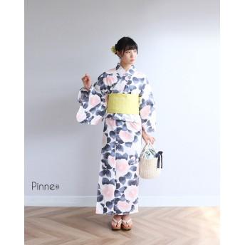 浴衣 - kimonocafe pinne浴衣3点セット ふうわり大椿 フリーサイズ Sサイズ TLサイズ ワイドサイズ 作り帯浴衣セット レディース浴衣 レトロ大人