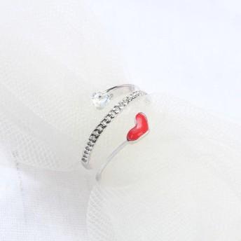 指輪 リング ラインストーン フロントオープン 三連風 ハート 細身 かわいい おしゃれ おでかけ 普段使い レディース 女性