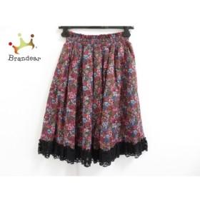 ロイスクレヨン Lois CRAYON スカート サイズM レディース 美品 黒×マルチ 花柄 新着 20190613