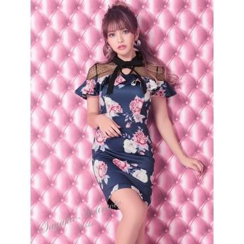 ドレス - Retica Tika ティカ 岩本紗也加(うさたにパイセン) ミニドレス タイトドレス ハイネック シースルー 袖あり 半袖 S-XLサイズ大きいサイズ ブラック ネイビー グレー 花柄 薔薇