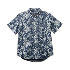 綿100% デニムアロハプリント半袖カジュアルシャツ カジュアルシャツ