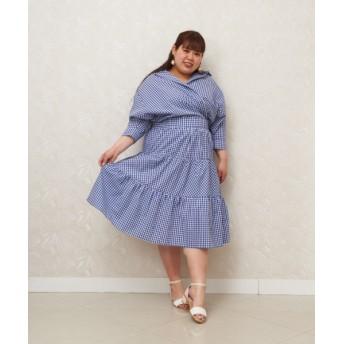 CHUBBY CURVY (Lサイズ) ギンガムチェックティアードスカート ブルー 1(13-15号)