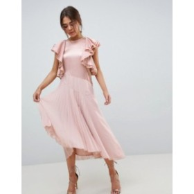 エイソス レディース ワンピース トップス ASOS DESIGN pleated midi dress with ruffle sleeve Pink