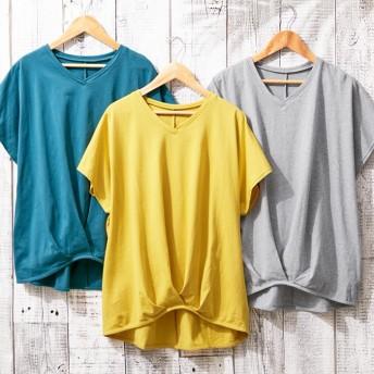 ベルーナ 綿100%ゆったり裾タックTシャツ グリーン LL レディース体型カバー 綿100% コットン 安い 着回し シンプル 半袖 カジュアル お出かけ