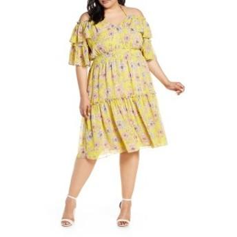 チェルシー28 レディース ワンピース トップス Chelsea28 Floral Off the Shoulder Tiered Dress (Plus Size) Yellow Floral