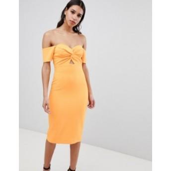 リバーアイランド レディース ワンピース トップス River Island Bardot Twist Front Bodycon Dress Orange bright