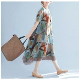 ワンピース レディース 夏 体型カバー マキシ丈 シフォン 半袖  大きいサイズ  花柄 Aライン ロング ゆるワンピ