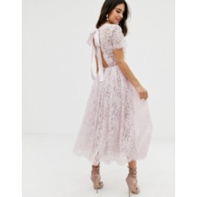 エイソス レディース ワンピース トップス ASOS DESIGN lace midi dress with ribbon tie and open back Light pink
