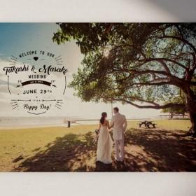 前撮り写真 海外風 おしゃれウェルカムボード(6) │結婚式 ウェディング