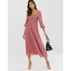 エイソス レディース ワンピース トップス ASOS DESIGN shirred pleated midi dress Tea rose