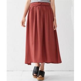 小さいサイズ ビンテージサテンウエストツイストリボン付デザインロングスカート 【小さいサイズ・小柄・プチ】ジャンパースカート