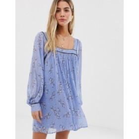 エイソス レディース ワンピース トップス ASOS DESIGN floaty square neck mini dress with piping in floral print Blue based floral