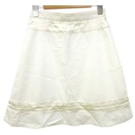 ドゥーズィエムクラス DEUXIEME CLASSE スカート ひざ丈 コットン 台形 バックジップ 無地 36 白 ホワイト B05015 レディー