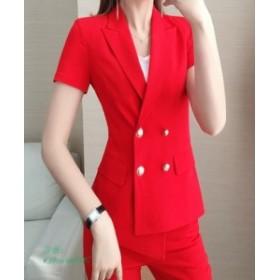 KOREA STYLE 春夏 レディース スーツ 韓国風 大きいサイズ スーツ 20代30代40代 スリム ジャケット スキニーパンツ 2点セット スキニーパ