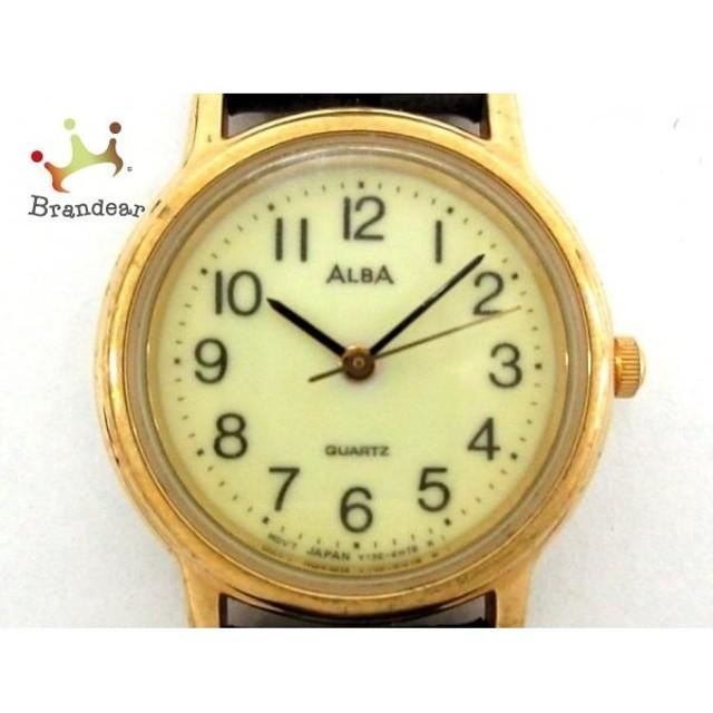 アルバ ALBA 腕時計 Y136-6A80 レディース 革ベルト/型押し加工 アイボリー  値下げ 20191021