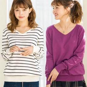 ベルーナ 綿100%Vネックセーター ライトグレー LL レディース綿100% Vネック 綿 洗濯 ゆったり かわいい 可愛い コットン 安い プチプラ カジュアル