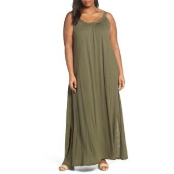 カスロン レディース ワンピース トップス Caslon Twist Neck Maxi Dress (Plus Size) Olive Sarma