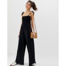 エイソス レディース ワンピース トップス ASOS DESIGN shirred bodice jumpsuit with tie straps Black