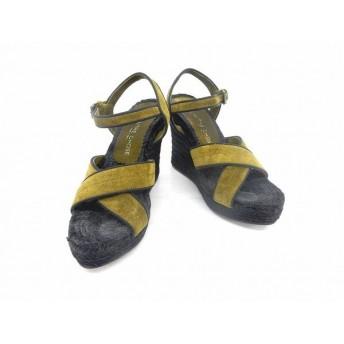 LAutre Chose 靴 シューズ ヒール サンダル ウェッジソール スエード ストラップ 箱付き 37.0 緑 グリーン /ST46 レディース