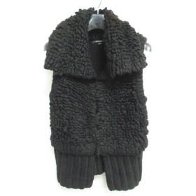アレキサンダーワン ALEXANDER WANG ニットベスト ジレ ビッグカラー ざっくり編み ウール ホック ブラック 黒 S 0228