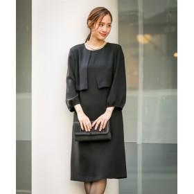 【喪服。礼服】ボレロアンサンブル風デザインワンピース(オールシーズン対応)<大きいサイズ有> (ブラックフォーマル),plus size