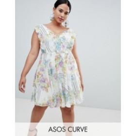 エイソス レディース ワンピース トップス ASOS DESIGN Curve Ruffle Mini Dress With Open Back In Floral Print Multi
