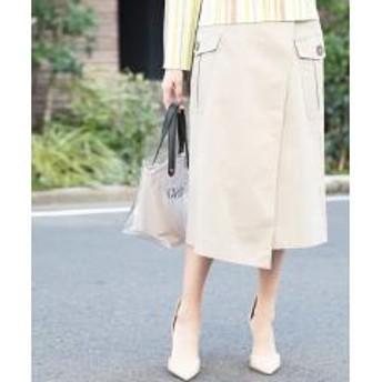 【洗える】ラップ風チノカーゴスカート【お取り寄せ商品】