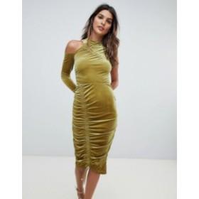 エイソス レディース ワンピース トップス ASOS High Neck Ruched Velvet Midi Bodycon Dress Chartreuse