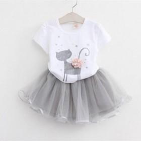 韓国子供服 セットアップ 女の子 tシャツ スカート 2点セット 子供服 子供 キッズ 赤ちゃん 可愛い 着心地良い 90/100/110/120/130cm ホ